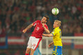 Austria vs sweden vienna june martin harnik and oscar wendt fight for the ball during the world cup qualifier game on june in Royalty Free Stock Images