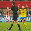 Austria vs sweden vienna june mikael lustig complains to referee gianluca rocchi italy during the world cup qualifier game on june Stock Photos
