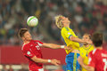 Austria vs sweden vienna june ola toivonen and sebastian prödl fight for the ball during the world cup qualifier game on Royalty Free Stock Image