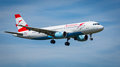 Austrian airlines airbus a aircraft landing at london heathrow nd august serial oe lbi Royalty Free Stock Images