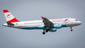 Austrian airlines airbus a aircraft landing at london heathrow nd august serial oe lbi Stock Photo