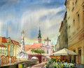 Austrian city sankt polten painted by watercolor Stock Photos