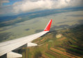 Austrian cultivated land seen from a plane rural and lake on summer Royalty Free Stock Photo