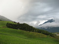 Austrian fields through the clouds Royalty Free Stock Image