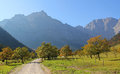 Austrian hiking trail karwendel alps famous valley bottom with maple trees landscape Royalty Free Stock Image