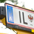 Austrian numberplate licence plate with copy space focus is on the a Stock Photography