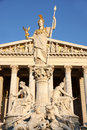 The austrian parliament in vienna austria and athena fountain Stock Image