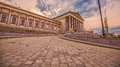Austrian parliament in vienna wide angle view at sunset Stock Images