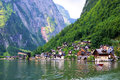 Austrian village quaint lake side town of hallstatt in the alps of austria Royalty Free Stock Image