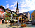 Austrian village quaint square in the of hallstatt Royalty Free Stock Image