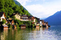 Austrian village traditional lakeside houses of the of hallstatt austria Stock Photo