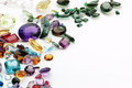 Authentic gemstones with copy space amethyst topaz quartz etc Royalty Free Stock Photos