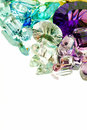 Authentic gemstones on mirror with copy space Royalty Free Stock Photos
