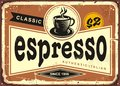 Authentic Italian espresso vintage tin sign