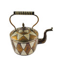 Authentic metal teapot vessel isolated covered with ornaments over white background Stock Photography