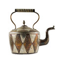 Authentic metal teapot vessel isolated covered with ornaments over white background front view Royalty Free Stock Photography