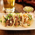 Authentic mexican tacos barbacoa carnitas and chicken Stock Photo
