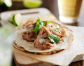 Authentic mexican tacos with carnitas cilantro and onion Royalty Free Stock Image