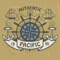 Authentic pacific stamp grunge rubber or label with the words written inside the Stock Photo