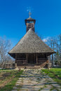 Authentic romanian village wooden church built with natural bio materials and ancient techniques in traditional architecture Stock Photography