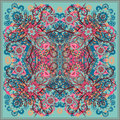 Authentic silk neck scarf or kerchief square pattern design in eastern style for print on fabric, vector illustration