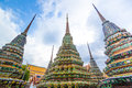 Authentic thai architecture in wat pho at bangkok of thailand Stock Photos