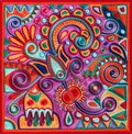 Authentic ukrainian yarn painting ancient and traditional technic of artwork creation flower design Royalty Free Stock Photo