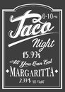 Authentic Vintage Style Taco Night lettering chalkboard design.