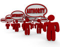 Authority people speech bubbles experts top knowledge skilled re word in above or workers who are in their professions with great Royalty Free Stock Photo
