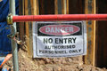 Authorized Personnel Only sign at the construction site. Royalty Free Stock Photo