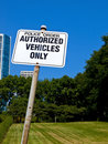 Authorized Vehicles Only Sign Stock Photo