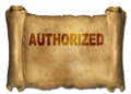 Authorized word on paper scroll made in d software Royalty Free Stock Images