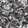 Autimobile car parts seamless pattern