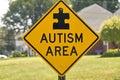 Autism area sign a warning motorists of an Stock Photos