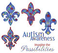 Autism Awareness Fleur Designs Royalty Free Stock Image