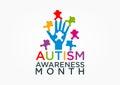 Autism awareness an illustration represent concept design Stock Photos