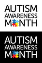Autism awareness month the words with jigsaw puzzle pieces colors and symbols conveniently provided on a light Royalty Free Stock Image