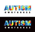 Autism awareness the phrase written in jigsaw puzzle pieces colors and symbols conveniently provided on a light Stock Photography