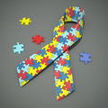 Autism awareness ribbon a d rendered with colored puzzle pieces clipping path included for the and puzzle pieces Stock Image