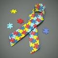 Autism awareness ribbon Royalty Free Stock Photo