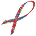 Autism awareness ribbon multi color the symbol of vector illustration Royalty Free Stock Photography