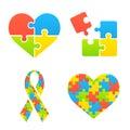 Autism awareness symbols set heart ribbon and puzzle pieces Royalty Free Stock Photos