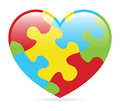Autism heart a colorful made of symbolic puzzle pieces Stock Photography
