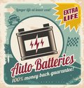 Auto batteries vintage poster design retro background for car service or car parts shop Royalty Free Stock Photography