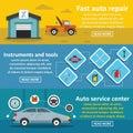Auto car repair banner horizontal set, flat style