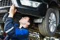 Auto car repair mechanic at work Royalty Free Stock Image