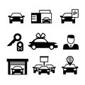 Auto dealership, car industry selling, buying and renting vector icons
