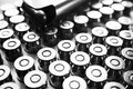 45 Auto Handgun Bullets In Black & White With Magazine Close Up High Quality Royalty Free Stock Photo