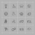 Auto icons set vector black on gray Stock Photo