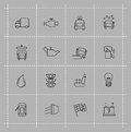 Auto icons set vector black on gray Stock Image